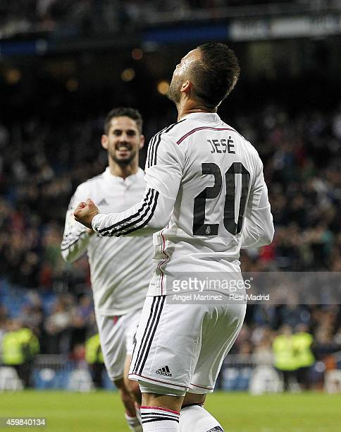Jese Rodriguez of Real Madrid celebrates after scoring his team's fifth goal during the Copa del Rey round of 32 second leg match between Real Madrid...
