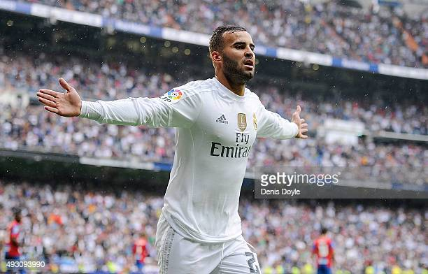 Jese Rodriguez of Real Madrid celebrates after scoring Real's 3rd goal during the La Liga match between Real Madrid CF and Levante UD at estadio...