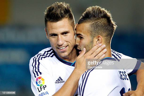 Jese Rodriguez of Real Madrid celebrates with Ivan Gonzalez after scoring during the La Liga Adelante match between Real Madrid Castilla and Xerez at...