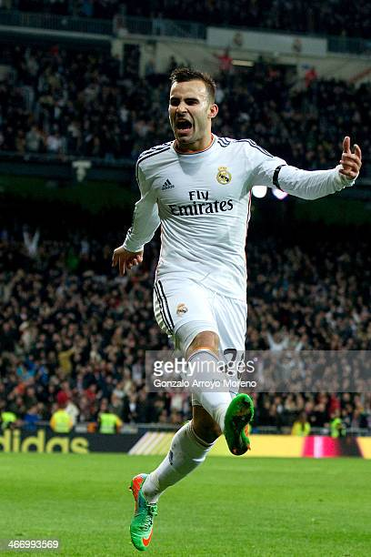 Jese Rodriguez of Real Madrid CF jumps celebrating scoring their second goal during the Copa del Rey semifinal first leg match between Real Madrid CF...