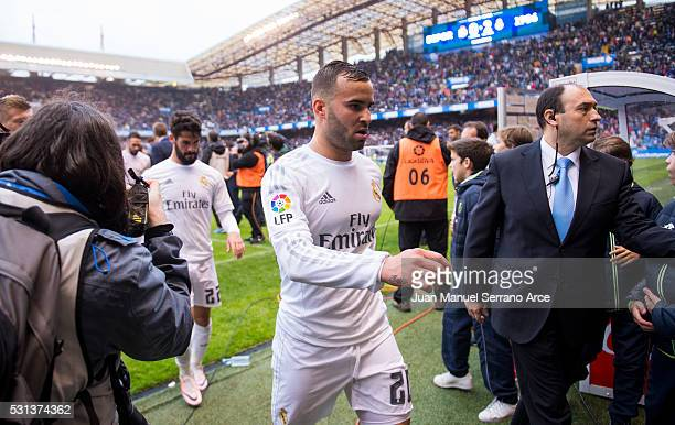Jese Rodriguez of Real Madrid reacts during the La Liga match between RC Deportivo La Coruna and Real Madrid CF at Riazor Stadium on May 14 2016 in...
