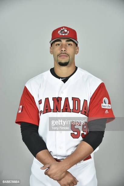 Jesen Therrien of Team Canada poses for a headshot for Pool C of the 2017 World Baseball Classic on Monday March 6 2017 at Bobby Mattick Training...