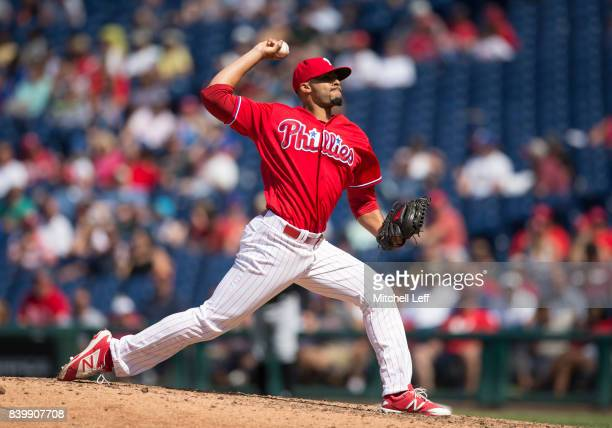 Jesen Therrien of the Philadelphia Phillies pitches against the Miami Marlins at Citizens Bank Park on August 24 2017 in Philadelphia Pennsylvania