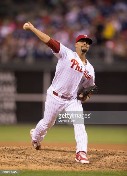 Jesen Therrien of the Philadelphia Phillies pitches against the New York Mets at Citizens Bank Park on August 10 2017 in Philadelphia Pennsylvania...