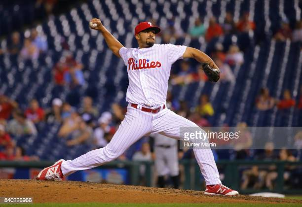 Jesen Therrien of the Philadelphia Phillies throws a pitch during game two of a doubleheader against the Miami Marlins at Citizens Bank Park on...
