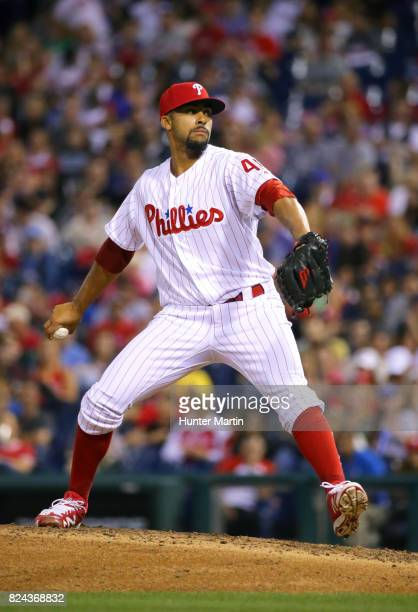Jesen Therrien of the Philadelphia Phillies throws a pitch in the sixth inning during a game against the Atlanta Braves at Citizens Bank Park on July...