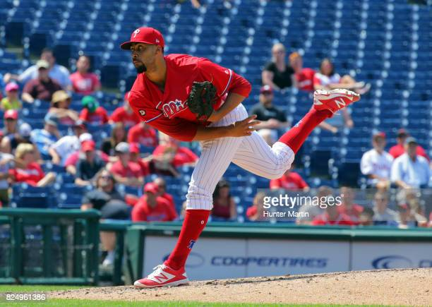 Jesen Therrien of the Philadelphia Phillies throws a pitch in the seventh inning during a game against the Atlanta Braves at Citizens Bank Park on...