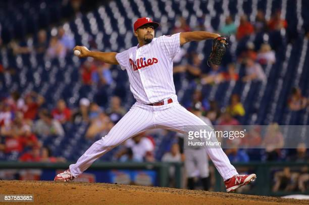 Jesen Therrien of the Philadelphia Phillies throws a pitch in the seventh inning during game two of a doubleheader against the Miami Marlins at...