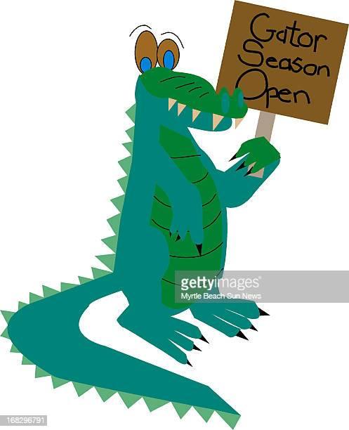 Jesi Kane illustration of alligator holding a 'Gator Season Open' sign The Sun News /MCT via Getty Images