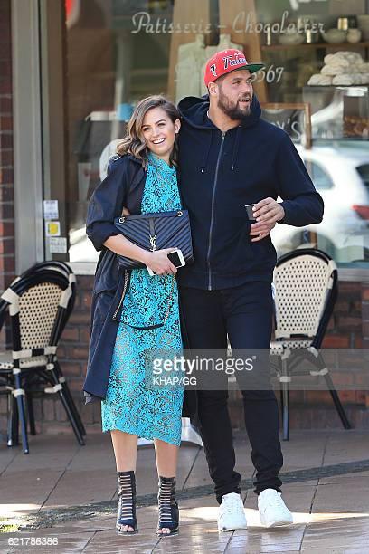 Jesinta Campbell and fiance Lance 'Buddy' Franklin enjoy a walk on August 7 2015 in Sydney Australia