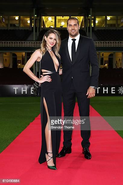 Jesinta Campbell and Lance Franklin arrive at the Sydney Swans function at Sydney Cricket Ground ahead of the 2016 AFL Brownlow Medal ceremony on...