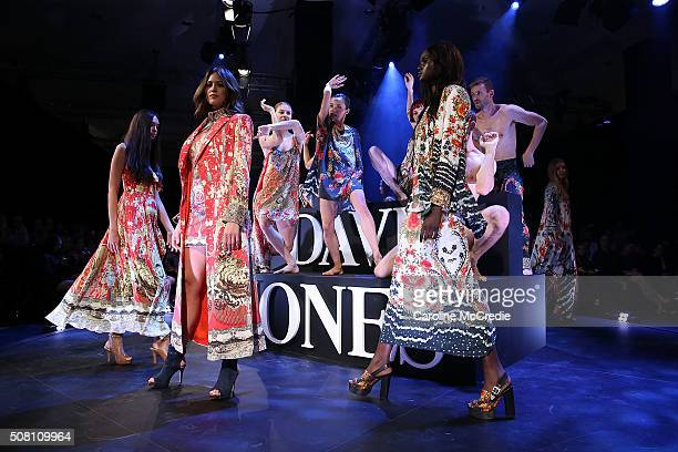 Jesinta Campbell and other models showcase designs by Camilla during rehearsal ahead of the David Jones Autumn/Winter 2016 Fashion Launch at David...