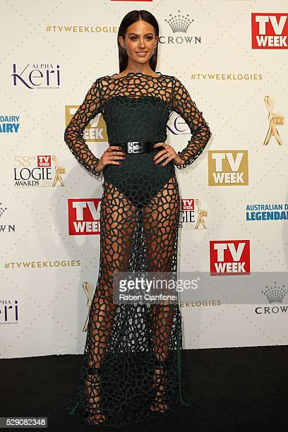 Jesinta Campbell arrives at the 58th Annual Logie Awards at Crown Palladium on May 8 2016 in Melbourne Australia