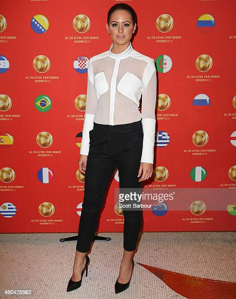 Jesinta Campbell arrives at the Crown's Celebrity Foosball Cup on June 11 2014 in Melbourne Australia