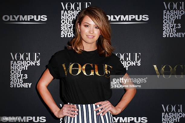 Jesinta Campbell arrives at Vogue Fashion's Night Out on September 3 2015 in Sydney Australia