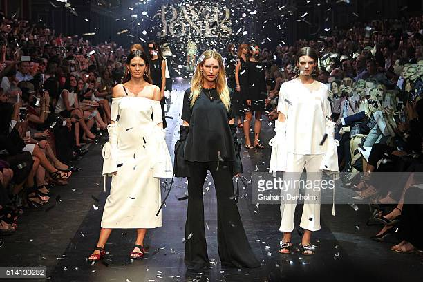 Jesinta Campbell Erin Wasson and Montana Cox pose on the runway during the David Jones opening event as part of Virgin Australia Melbourne Fashion...