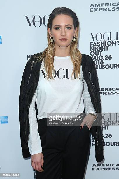 Jesinta Campbell poses as she arrives for Vogue American Express Fashion's Night Out on August 26 2016 in Melbourne Australia