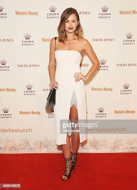 Jesinta Campbell poses at the Crown's Autumn Ladies Lunch at David Jones Elizabeth Street Store on March 20 2015 in Sydney Australia