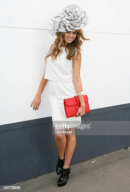 Jesinta Campbell poses during Derby Day at Flemington Racecourse on October 29 2011 in Melbourne Australia