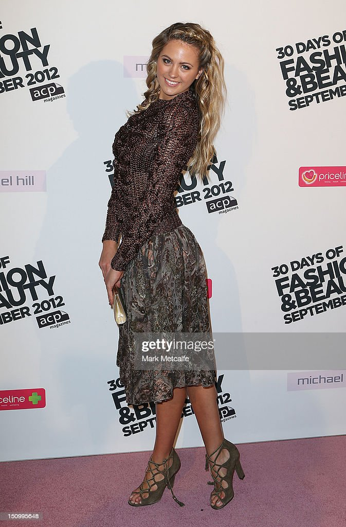 Jesinta Campbell poses during the 30 Days of Fashion & Beauty Launch at Sydney Town Hall on August 30, 2012 in Sydney, Australia.
