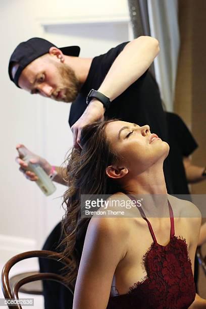 Jesinta Campbell prepares backstage ahead of the David Jones Autumn/Winter 2016 Fashion Launch at David Jones Elizabeth Street Store on February 3...