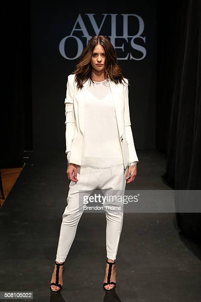 Jesinta Campbell showcases designs by Camilla and Marc during rehearsal ahead of the David Jones Autumn/Winter 2016 Fashion Launch at David Jones...