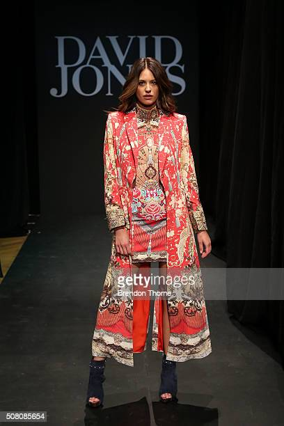 Jesinta Campbell showcases designs by Camilla during rehearsal ahead of the David Jones Autumn/Winter 2016 Fashion Launch at David Jones Elizabeth...