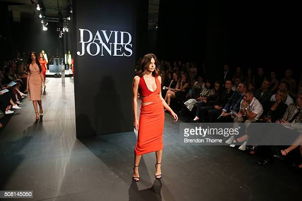 Jesinta Campbell showcases designs by Dion Lee on the runway at the David Jones Autumn/Winter 2016 Fashion Launch at David Jones Elizabeth Street...