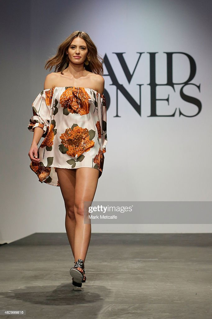 Jesinta Campbell showcases designs by Easton Pearson on the runway at the David Jones Spring/Summer 2015 Fashion Launch at David Jones Elizabeth...