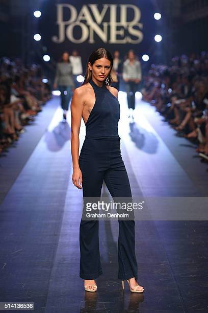 Jesinta Campbell showcases designs by Manning Cartell on the runway during the David Jones opening event as part of Virgin Australia Melbourne...
