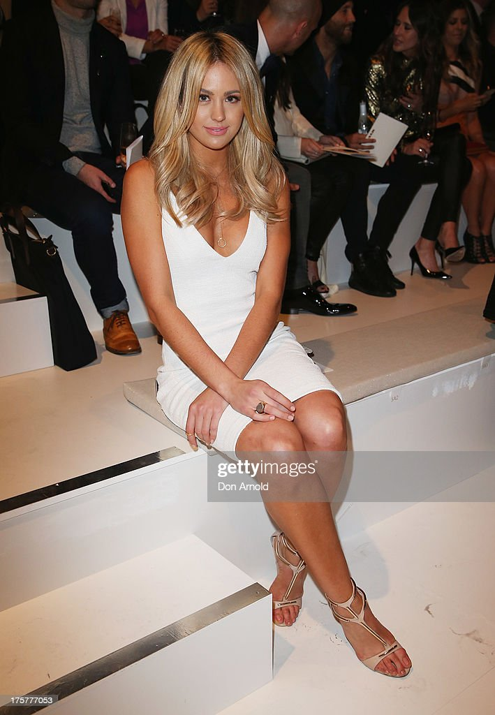 Jesinta Campbell sits front row at the Myer Spring/Summer 2014 Collections Launch at Fox Studios on August 8, 2013 in Sydney, Australia.
