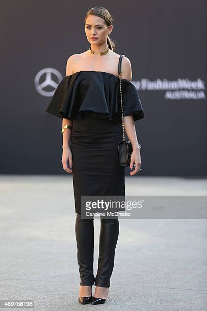 Jesinta Campbell wearing a Bianca Spender outfit and Christian Louboutin heels at MercedesBenz Fashion Week Australia 2015 at Carriageworks on April...