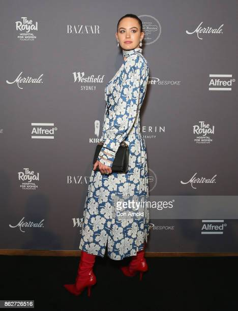Jesinta Franklin arrives ahead of BAZAAR in Bloom at The Ivy on October 18 2017 in Sydney Australia