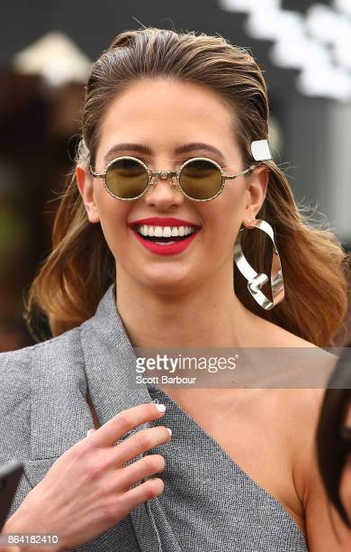 Jesinta Franklin attends the David Jones Marquee on Caulfield Cup Day at Caulfield Racecourse on October 21 2017 in Melbourne Australia