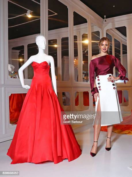 Jesinta Franklin David Jones Ambassador poses during a media preview of The House of Dior Seventy Years of Haute Couture exhibition at NGV...