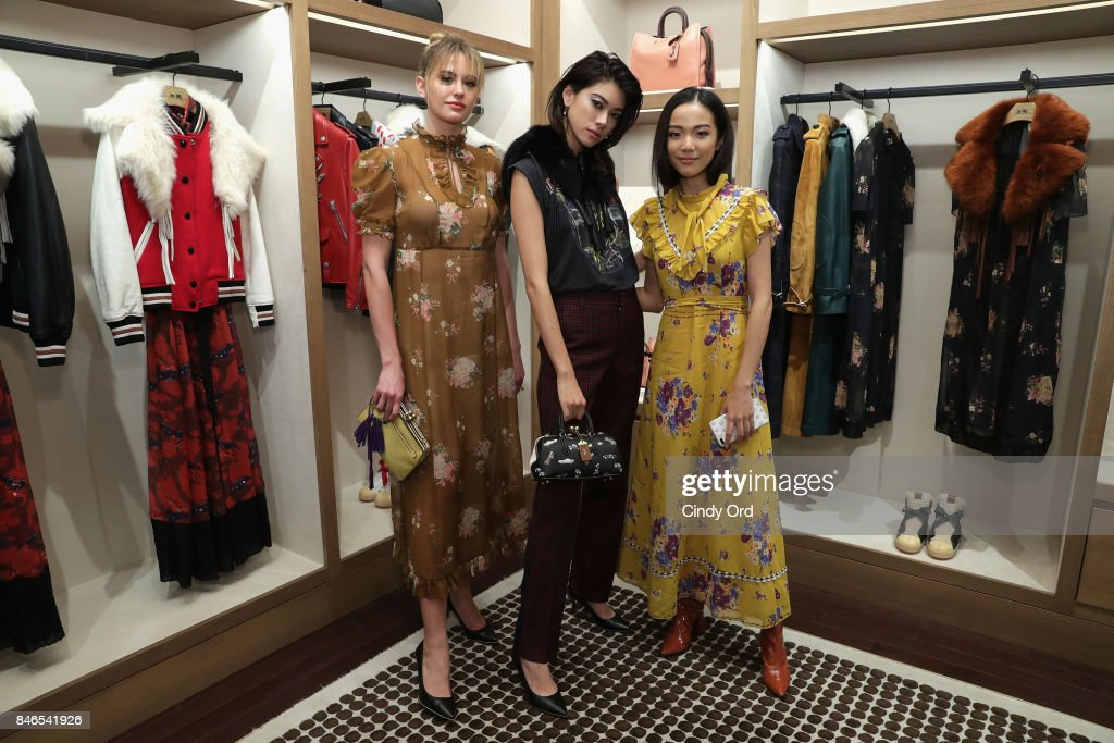 Jesinta Franklin, Hikari Mori, and Yoyo Cao attends the Coach In-Store Event with Selena Gomez at Coach Boutique on September 13, 2017 in New York City.