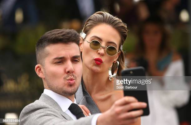 Jesinta Franklin poses for a photo as she attends the David Jones Marquee on Caulfield Cup Day at Caulfield Racecourse on October 21 2017 in...