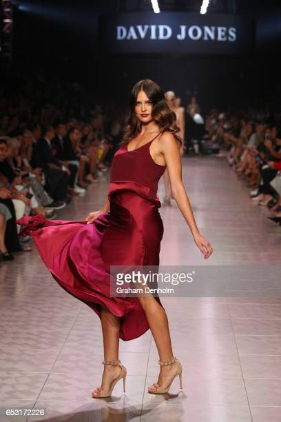 Jesinta Franklin showcases a design during the David Jones Gala Runway Show at VAMFF on March 14 2017 in Melbourne Australia