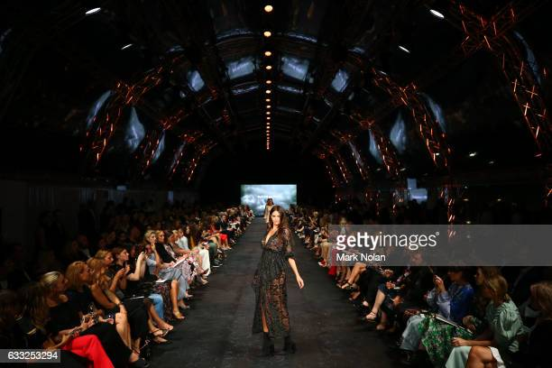 Jesinta Franklin showcases designs by Alice McCall on the runway at the David Jones Autumn Winter 2017 Collections Launch at St Mary's Cathedral...