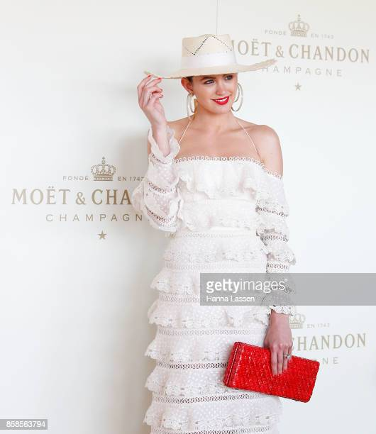 Jesinta Franklin wearing Zimmermann dress at Moet Chandon Spring Champion Stakes Day at Royal Randwick Racecourse on October 7 2017 in Sydney...