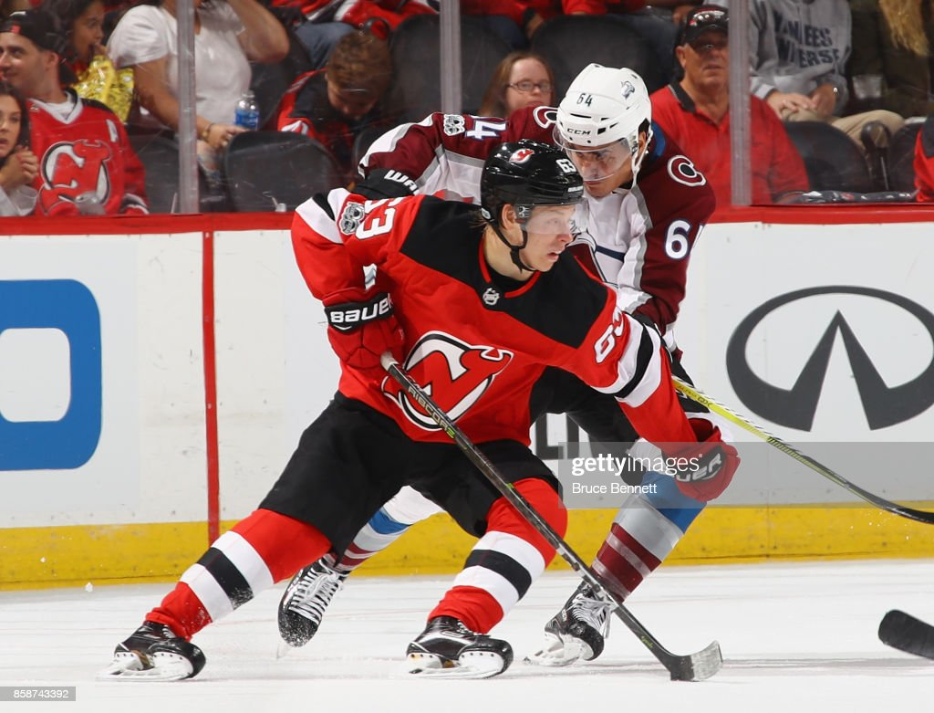 Jesper Bratt #63 of the New Jersey Devils skates in his first NHL game against the Colorado Avalanche at the Prudential Center on October 7, 2017 in Newark, New Jersey. The Devils defeated the Avalanche 4-1.