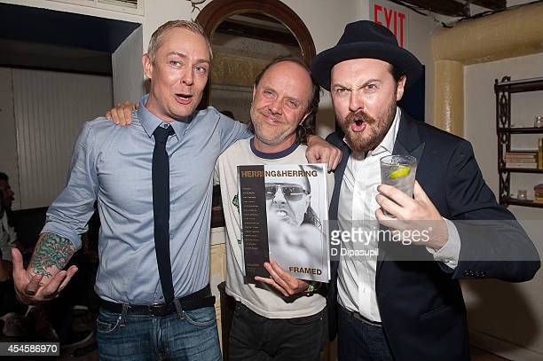 Jesper Carlsen Lars Ulrich and Dimitri Scheblanov attend the launch party for Herring Herring Framed magazine at Lovers Of Today on September 3 2014...