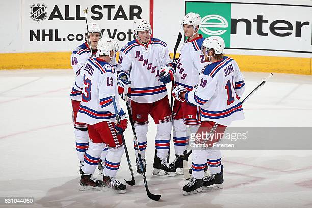 Jesper Fast Kevin Hayes JT Miller Nick Holden and Marc Staal of the New York Rangers celebrate after scoring against the Arizona Coyotes during the...