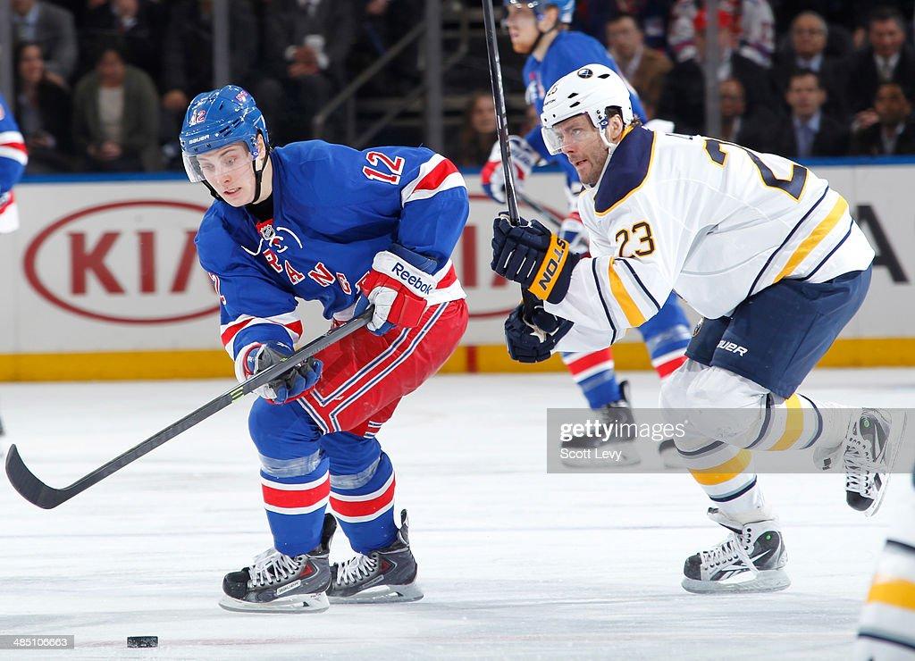 Jesper Fast #12 of the New York Rangers skates against Ville Leino #23 of the Buffalo Sabres at Madison Square Garden on April 10, 2014 in New York City. The New York Rangers won 2-1.