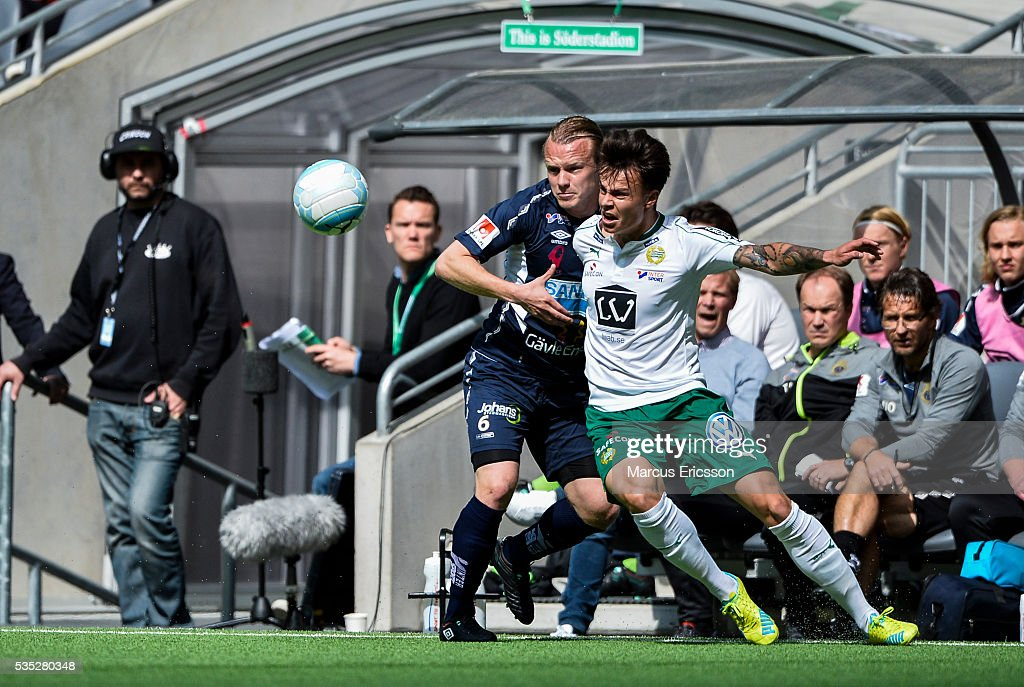 Jesper Florén of Gefle IF and Melker Hallberg of Hammarby IF during the Allsvenskan match between Hammarby IF and Gefle IF at Tele2 Arena on May 29, 2016 in Stockholm, Sweden.