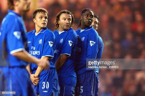 Jesper Gronkjaer Mario Stanic Mario Melchiot and Frank Lampard in the Chelsea wall watch Geremi's free kick for Middlesbrough hit the back of the net...