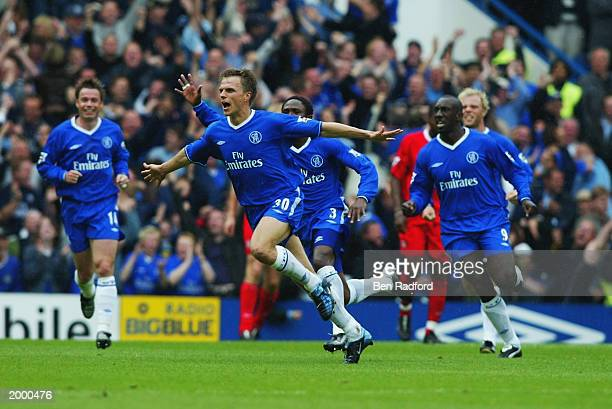Jesper Gronkjaer of Chelsea celebrates scoring the winning goal during the FA Barclaycard Premiership match between Chelsea and Liverpool held on May...