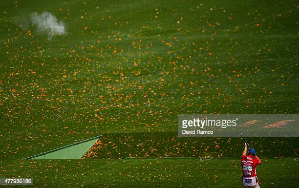 Jesper Hansen of Denmark competes in the Men's Shooting Skeet Qualification Round during day nine of the Baku 2015 European Games at the Baku...