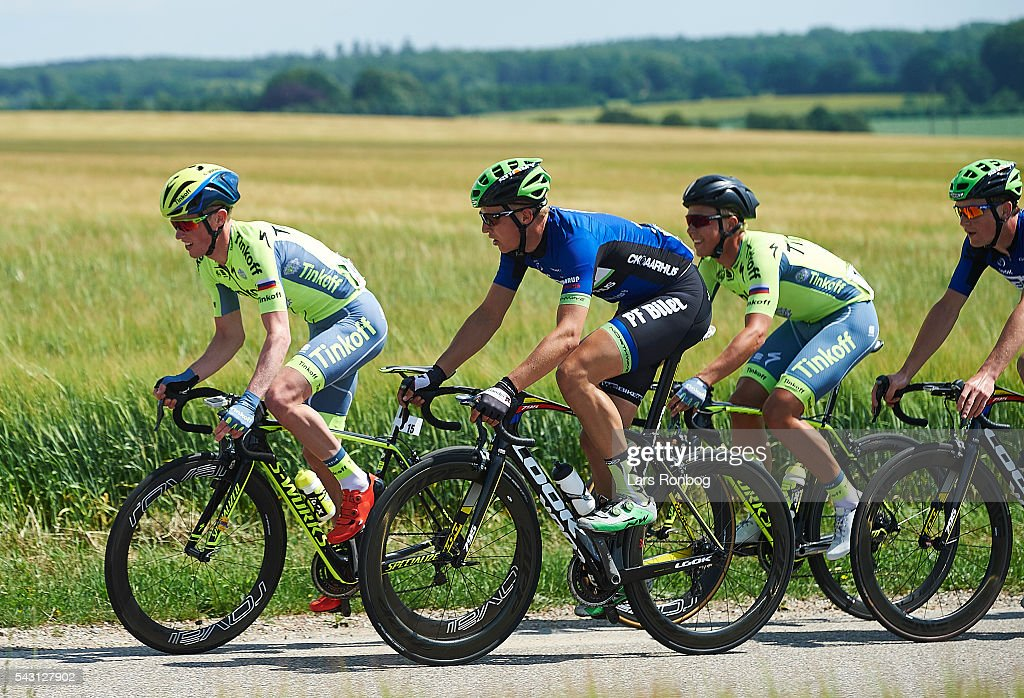 Jesper Hansen of TINKOFF leading during the Elite Men Road Race Championships on day three of the Danish Cycling Championships on June 26, 2016 in Vordingborg, Denmark.