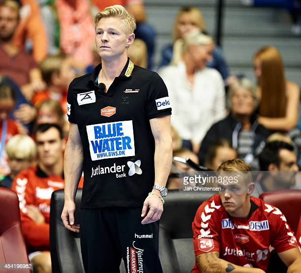 Jesper Jensen head coach of Aalborg Handbold looks on during the Super Cup Final between KIF Kolding Copenhagen and Aalborg Handbold in Gigantium on...